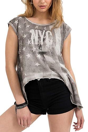 trueprodigy Casual Mujer Marca Camiseta Estampado Ropa Retro Vintage Rock Vestir Moda Cuello Redondo...