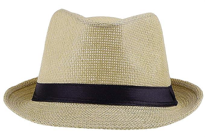 Sombrero De Panamá para Mujer Unisex Sombrero De Paja Hombre para Cilindro  De Especial Estilo Trilby Sombrero De Jazz Sombrero para El Sol con Borde  De ... bdcd79e9fd5