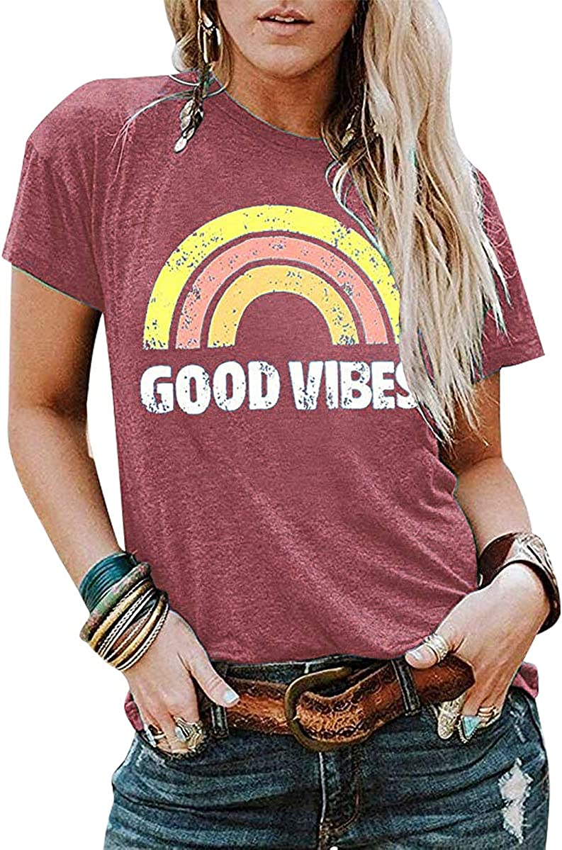 JINTING Good Vibes Graphic Tee Shirt for Women Teen Girls Long Sleeve Casual Funny Cute T Shirt Top with Sayings