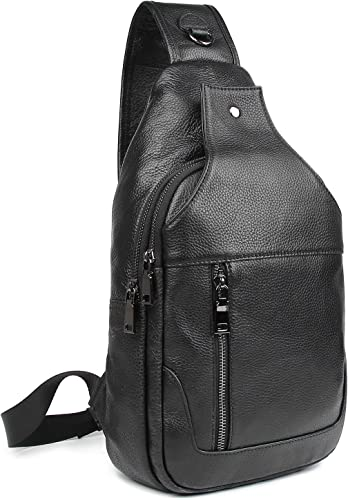 Polare Real Italian Leather Casual Daypack Chest Crossbody Outdoor Sports Sling Bag