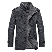 XWDA PU Leather Jacket Men Thicken Fur Lined Coat Warm Stand Collar Outwear M-4XL