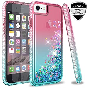 LeYi iPhone SE 2020 Case, iPhone 8 Case, iPhone 7 Case, iPhone 6s / 6 Case with Tempered Glass Screen Protector [2Pack] for Girls Women, Glitter Phone Case for Apple iPhone 6/ 6s/ 7/8 Pink/Teal