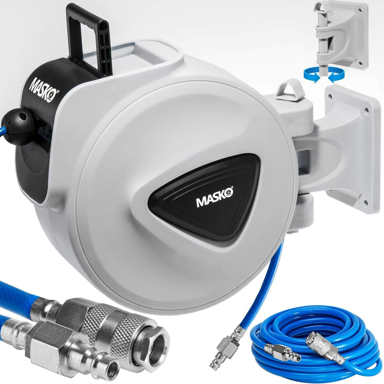 MASKO 20m Druckluftschlauch Aufroller automatisch 3/8' Anschluss - Schlauchtrommel Wandschlauchhalter Schlauchaufroller Druckluftschlauch-Aufroller Druckluftschlauch-trommel KESSER