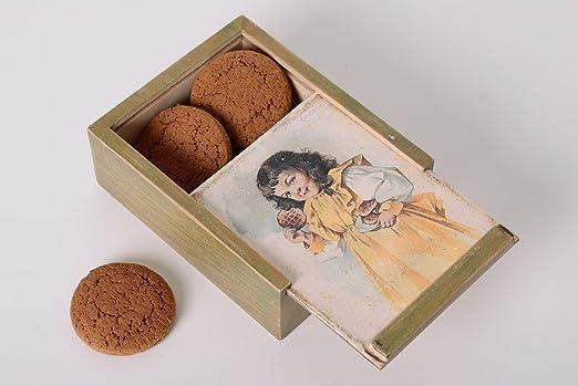 Caja de madera hecha a mano para galletas decoupage bonita: Amazon ...