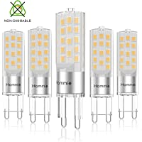 Lampadine LED G9 3.8w Hommei Calda,Risparmio Energetico come Lampade Alogene da 40w, Lampadina LED Luce Nussun Sfarfalli per Cucina, Gabinetto da Bagno 5 pezzi