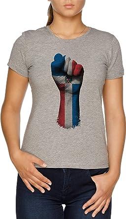 Vendax Bandera de dominicano República en un Elevado Clenched Puño - dominicano República Camiseta Mujer Gris: Amazon.es: Ropa y accesorios