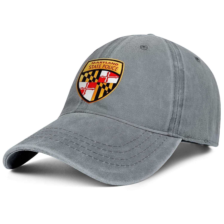 Men Woman Maryland State Police 2 Cap Vintage Denim Cowboy Hat Hiking Caps