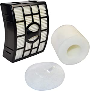 HQRP Filter Kit for Shark Rotator NV750 Series NV750W NV751 NV752 NV765 NV750REF Powered Lift-Away Upright Vacuum Cleaners (HEPA + Foam&Felt Filters) Plus Coaster