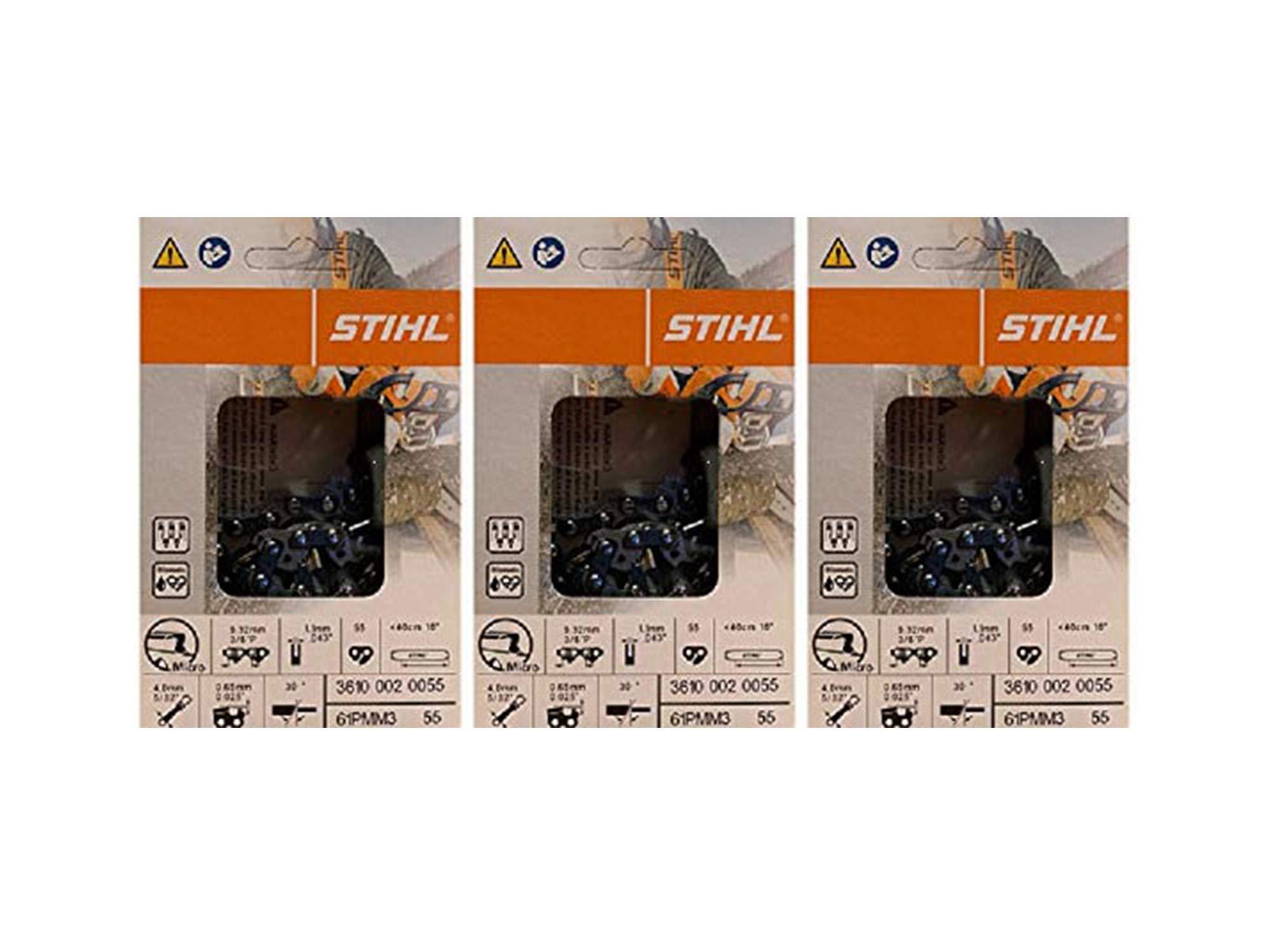 3 pk) 16'' Stihl Chainsaw Picco Micro Oilomatic Saw Chain 61PMM355 3/8p .043 55dl