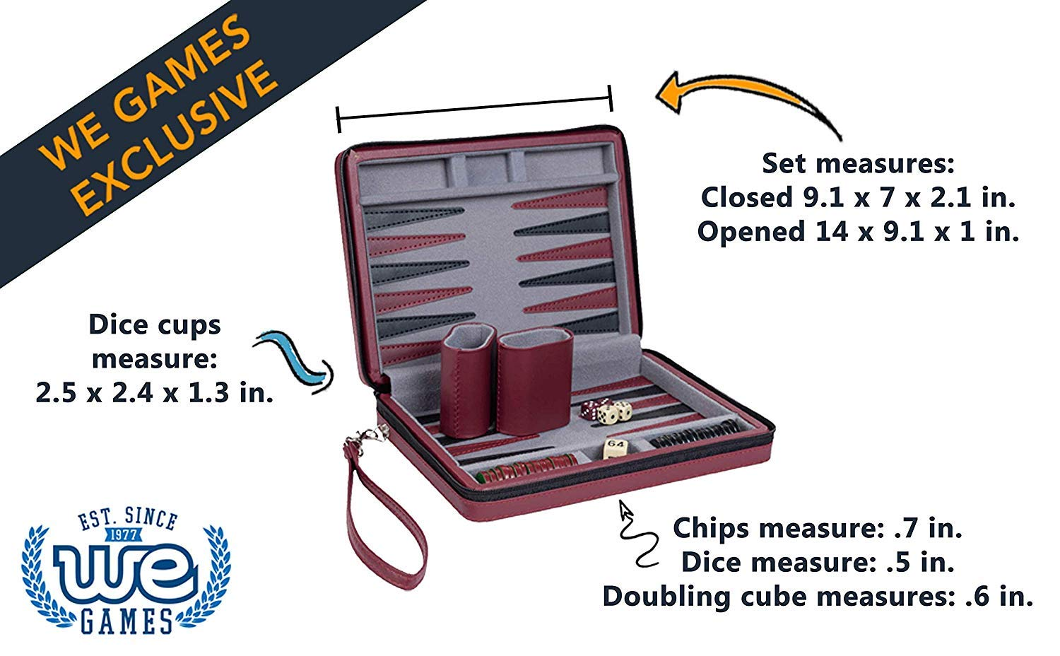 Wood Expressions WE Games Burgundy Magnetic Backgammon Set with Carrying Strap - Travel Size by WE Games (Image #2)