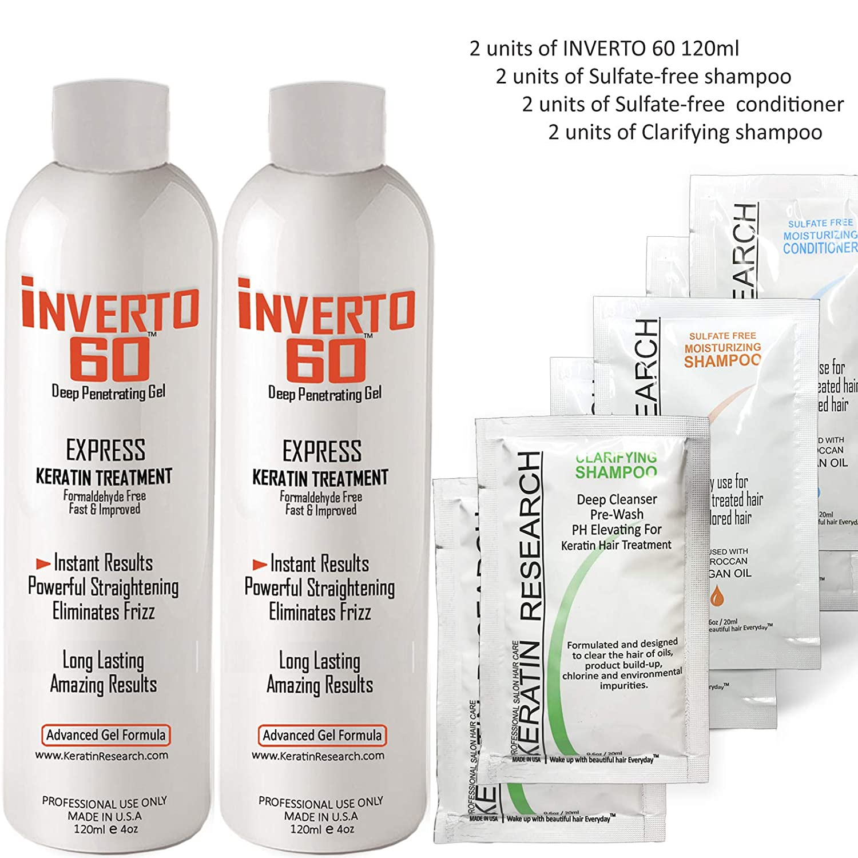 INVERTO 60 Advanced Gel Complex Brazilian Keratin Hair Blowout Treatment Formaldehyde Free Straightening Smoothing and Repairing Damaged Hair Keratin Research Long hair-180ml