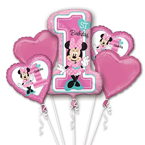 Amazoncom Minnie Mouse 1st Birthday Bouquet Of Balloons Toys Games