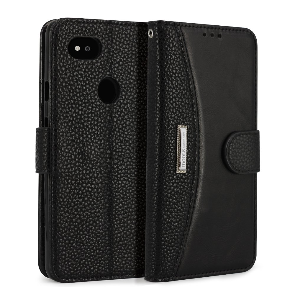Google Pixel 2 XL Case,Solid Color Leather Case Flip Folio Book Business Case Wallet Cover with Kickstand Feature Card Slots & ID Holder and Magnetic Closure,Black by IDOOLS