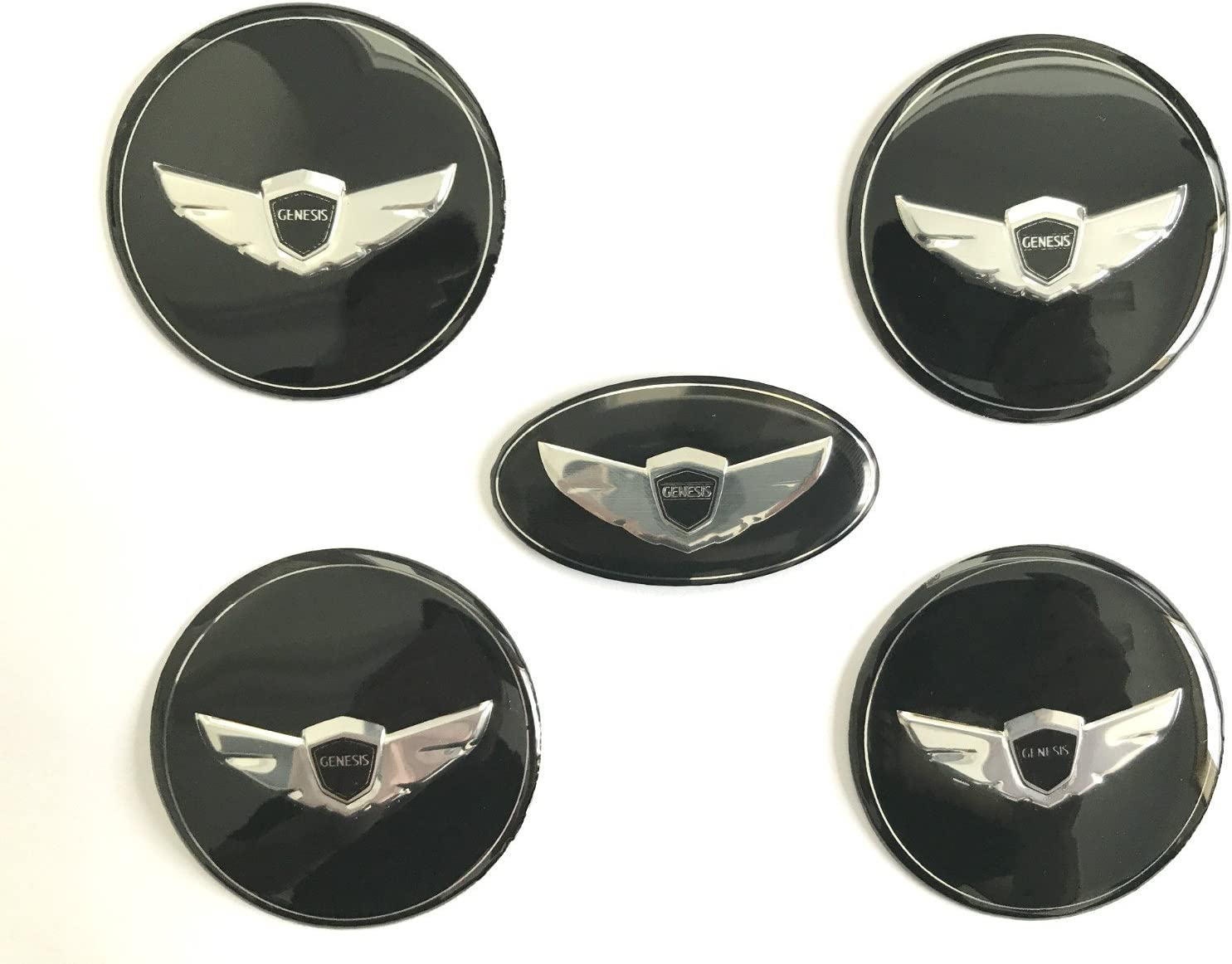 Rim Center Caps Stickers Turbo Kit Emblem Badges 5 Pieces Exotic Store 5 Pieces 2010-2017 Modified Fit for Hyundai Genesis Coupe Wing Logo Steering Wheel