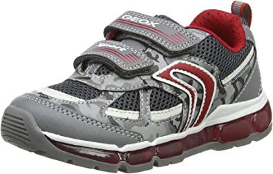 Impresión sitio combate  Amazon.com | Geox Android Boy 21 Light Up Hook-and-Loop Sneaker, Grey/Red,  2 Little Kid | Sneakers