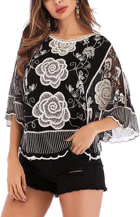 Camisa de Encaje Bordado de Moda para Mujer Blusa con Cuello Redondo y Manga Suelta de Tres Cuartos Top para la Primavera de Verano (Base Negra, Patrón de Rosa, Tamaño L): Amazon.es:
