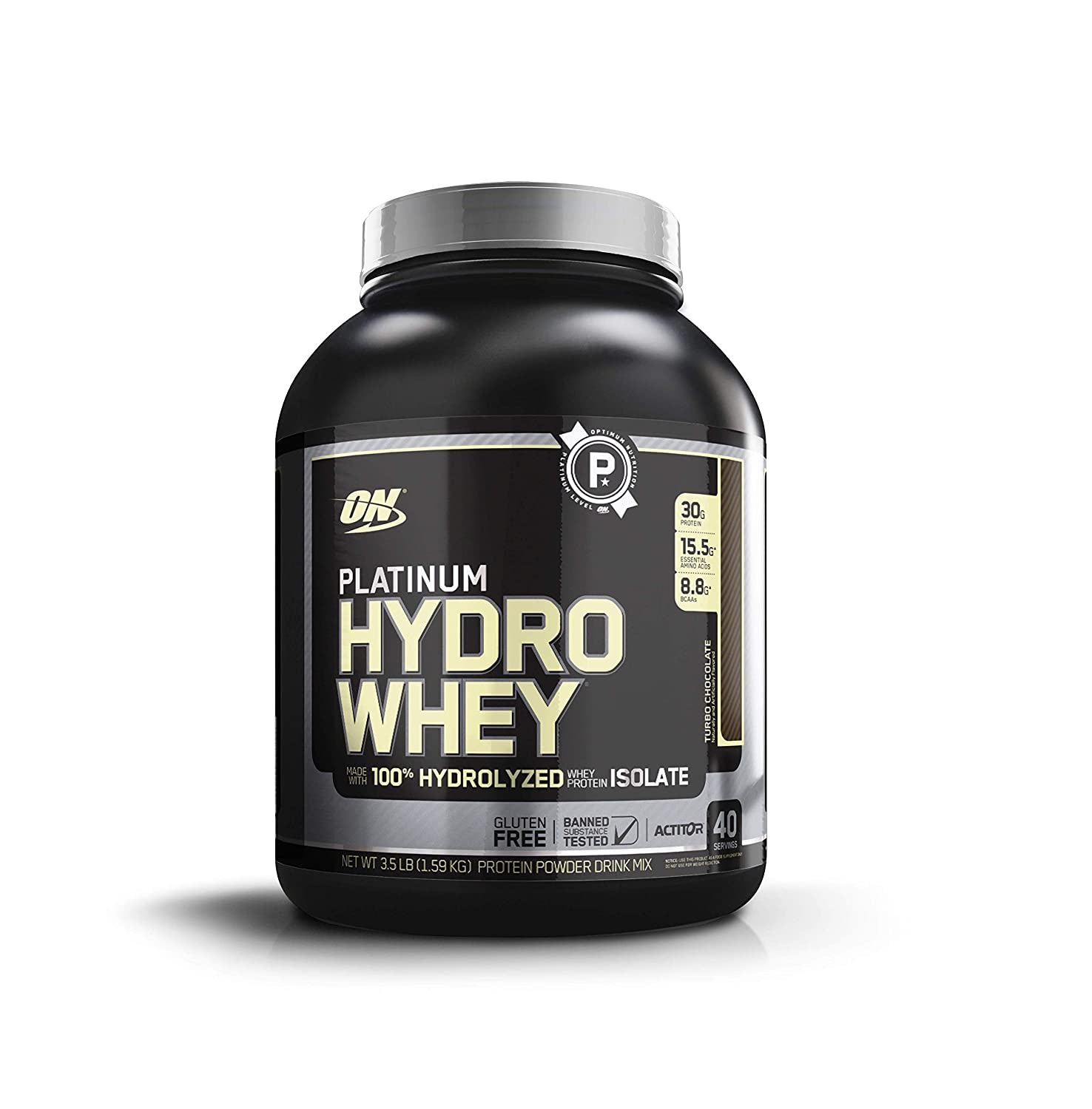 OPTIMUM NUTRITION Platinum Hydrowhey Protein Powder, 100 Hydrolyzed Whey Protein Isolate Powder, Flavor Turbo Chocolate, 3.5 Pounds