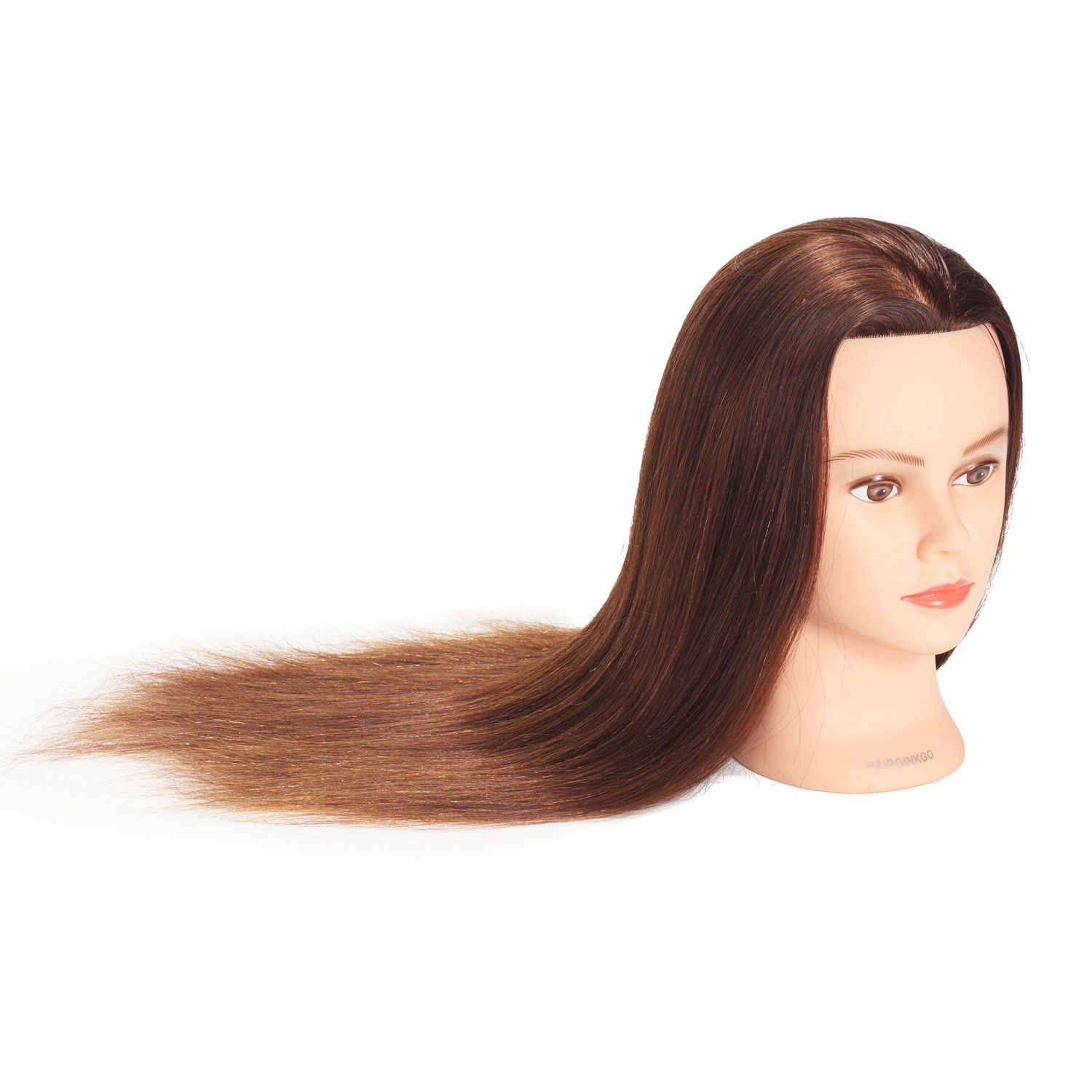 Hairginkgo Mannequin Head 24-26 100/% Human Hair Manikin Head Hairdresser Training Head Cosmetology Doll Head for Styling Dye Cutting Braiding Practice with Clamp Stand 91812W0418