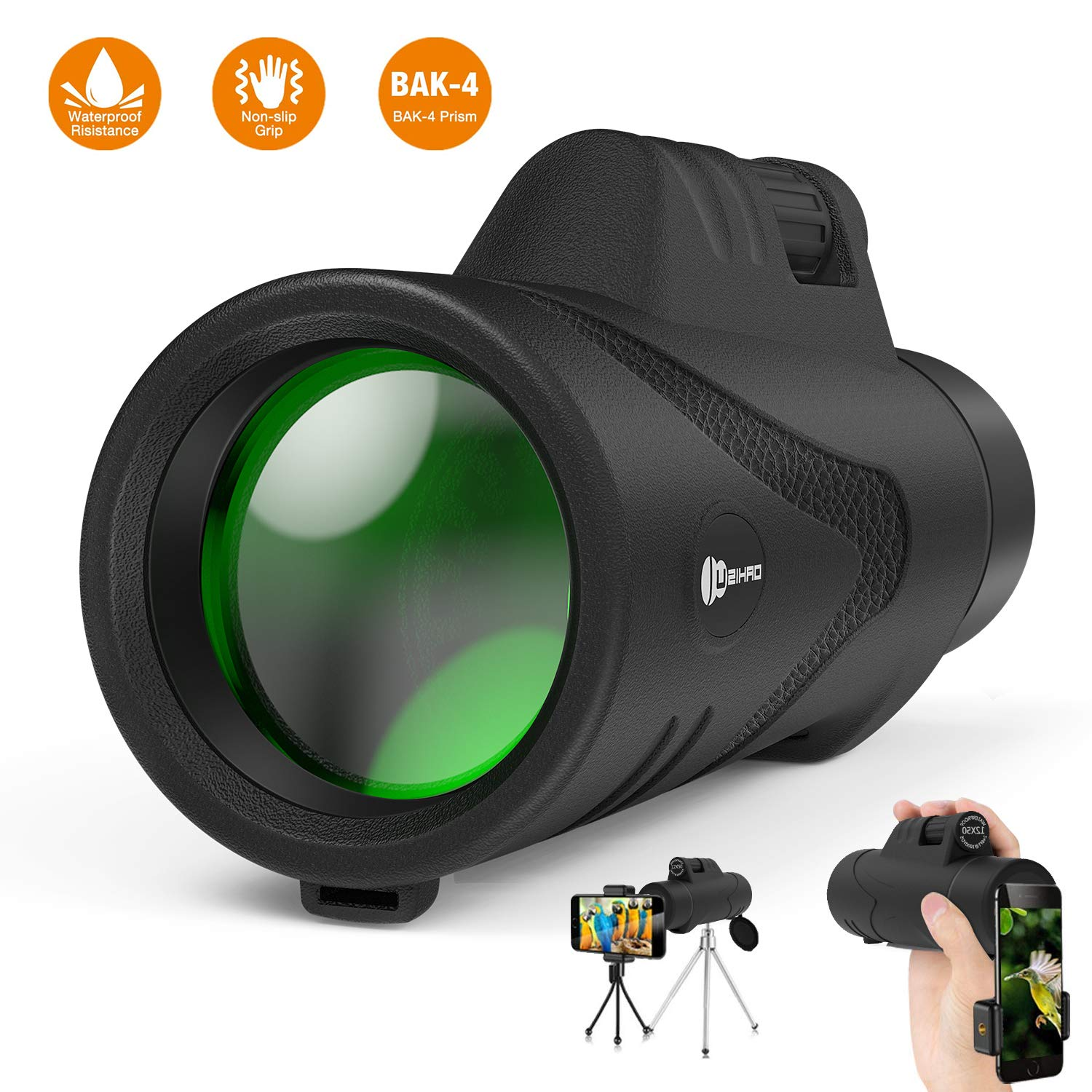 Monocular Telescope,12X50 JUZIHAO High Powered Waterproof- Shockproof HD BAK4 Prism,Monocular with Smartphone Holder and Tripod for Bird Watching Travelling Hunting Camping Wildlife by JUZIHAO