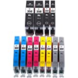 Canon キャノン BCI-351XL 350XLBK 互換 インク 6色セット*2pack 残量表示機能付【増量タイプ】