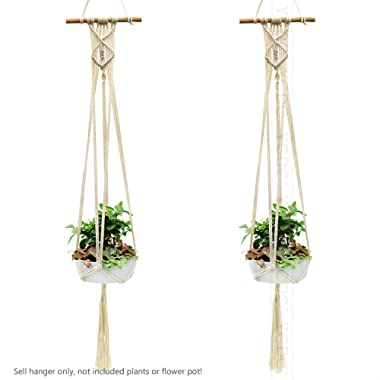 YCDC Macrame Plant Hanger with Wood Dowel Braided Tassel, Indoor Bedroom Parlor Hall Hanging Basket Ropes, 39 ,2Pcs