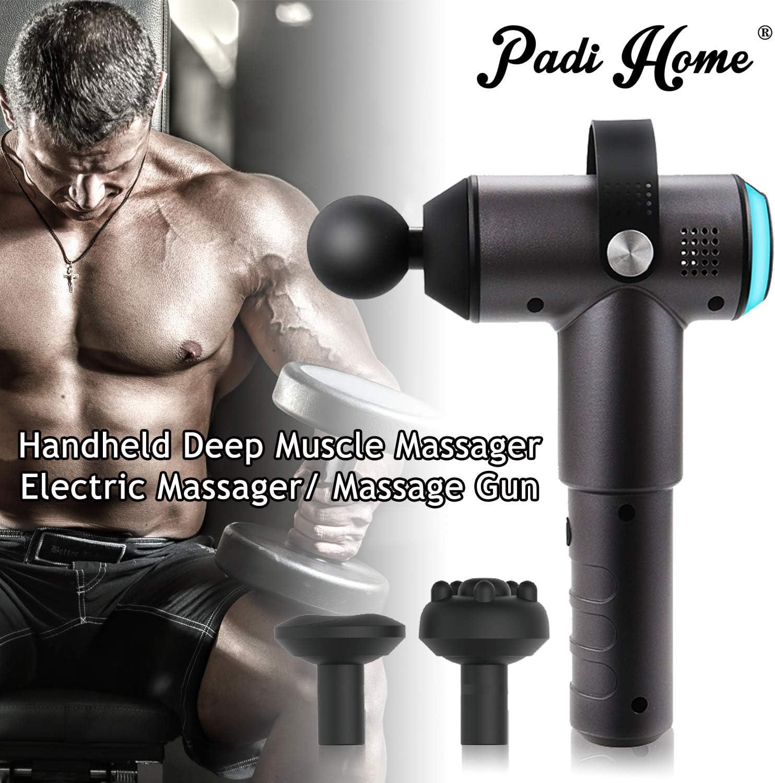 Sans fil Silencieux Stimulateur Masseur Pistolet Padi Home Pistolet de Massage Musculaire 3 Vitesses R/églable Corps de Massage avec 4 T/êtes de Massage Noir Appareil de Massage Portatif