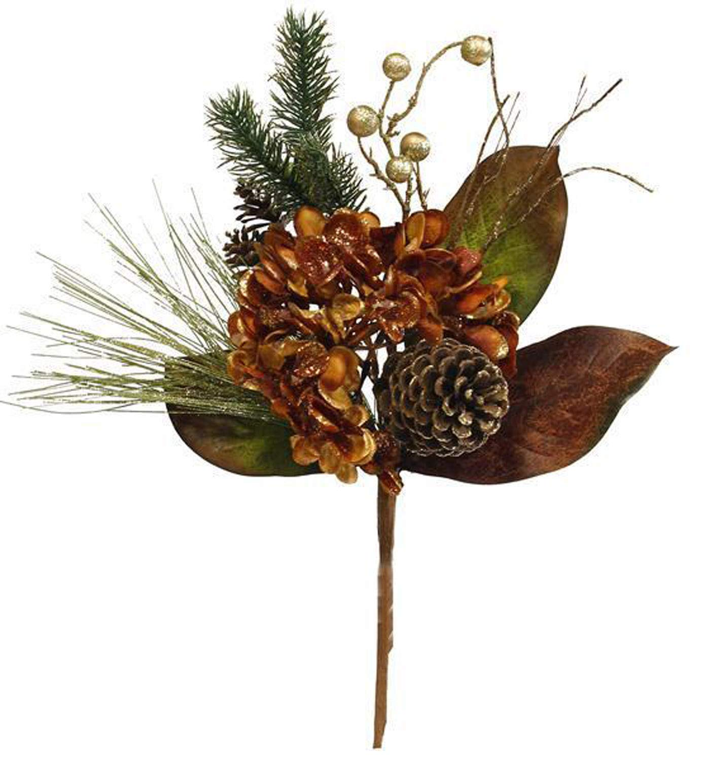 A & B Floral Hydrangea Pine Pinecone Copper Gold 21 inch Artificial Christmas Flower Spray