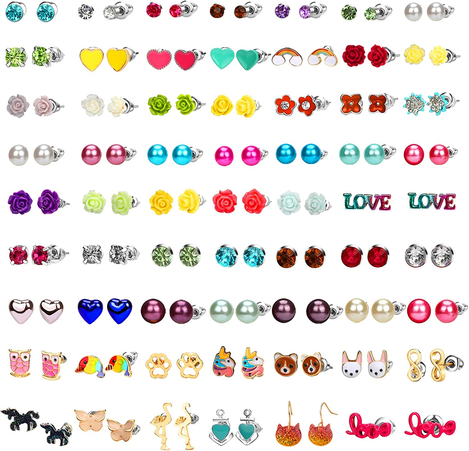 Hicdaw 62 Pairs Hypoallergenic Stud Earrings 33% OFF £7.99 @ Amazon