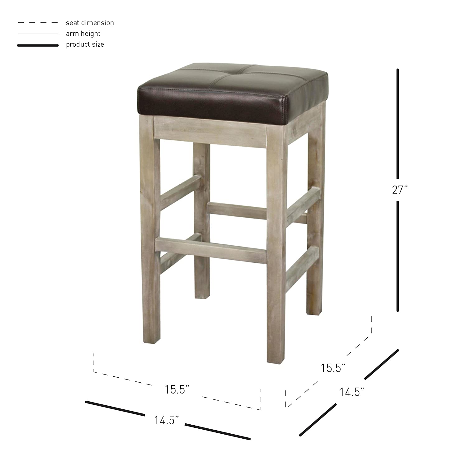 New Pacific Direct Valencia Backless Bonded Leather Counter Stool 27,Distressed Gray Legs,Paynes Gray