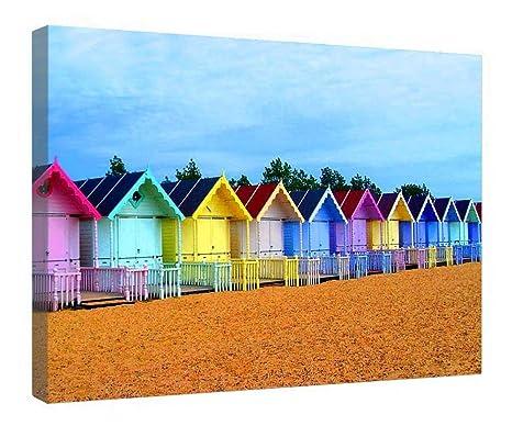 leequeen Canvas Prints Pared Arte – casetas de playa – madera Junta Antecedentes lienzo para listo