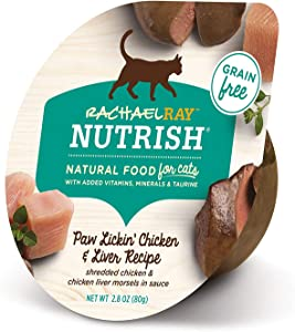Rachael Ray Nutrish Natural Wet Cat Food, Paw Licken' Chicken & Liver Recipe, 2.8 Ounce Cup (Pack of 24), Grain Free