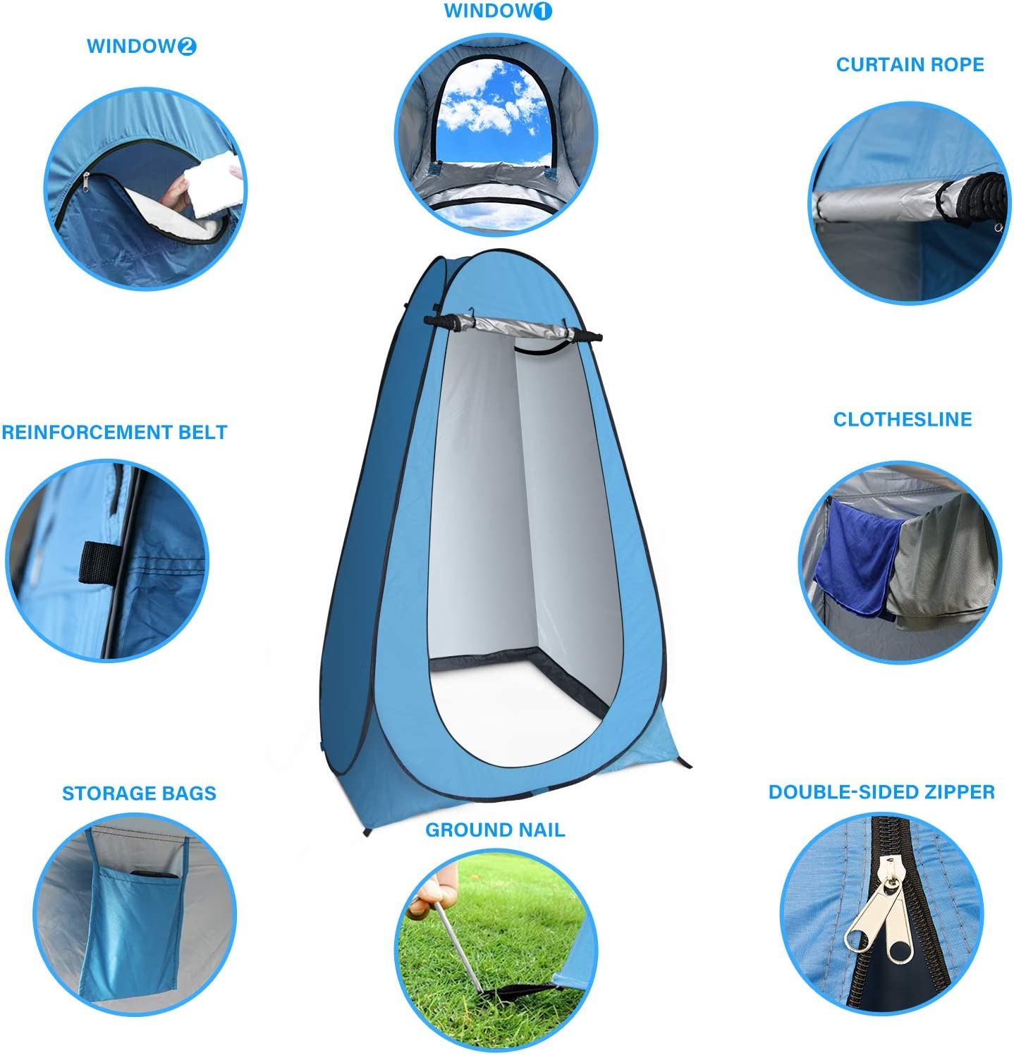 anngrowy Pop Up Privacy Tent Shower Tent Portable Outdoor Camping Bathroom Toilet Tent Changing Dressing Room Privacy Shelters Room for Hiking and Beach – UPF 40+ Waterproof with Carry Bag : Sports & Outdoors