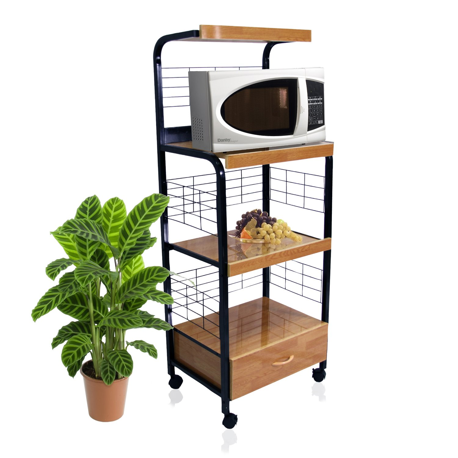 Home Source Industries 4403 Metal Microwave Cart with 2 Electrical Outlets, Black with Light Wood Trim by Home Source Industries (Image #2)