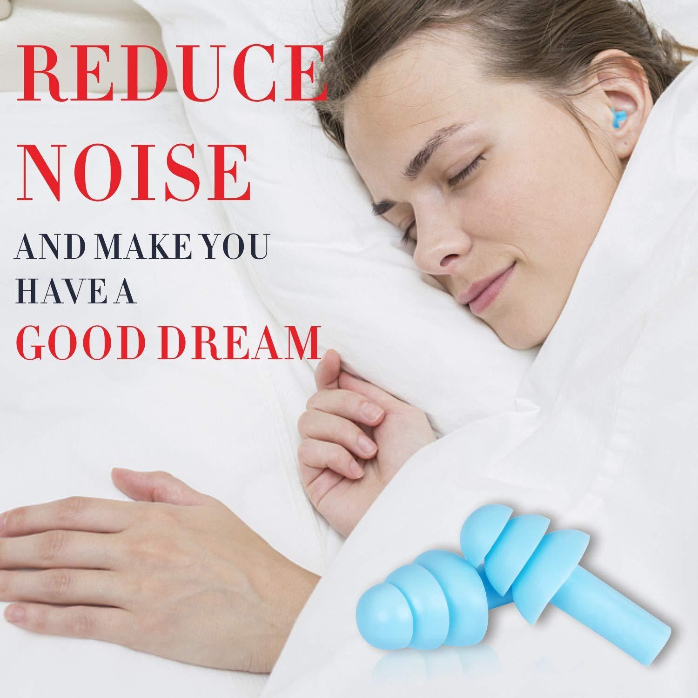 Kndio 2 paia di tappi per le orecchie in silicone a cancellazione del rumore riducono il rumore per dormire impermeabili nuotare e viaggiare russare ipoallergenici comodi e riutilizzabili