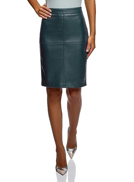 f81c07ea3 oodji Ultra Mujer Falda Recta de Piel Sintética, Verde, ES 44 / XL ...