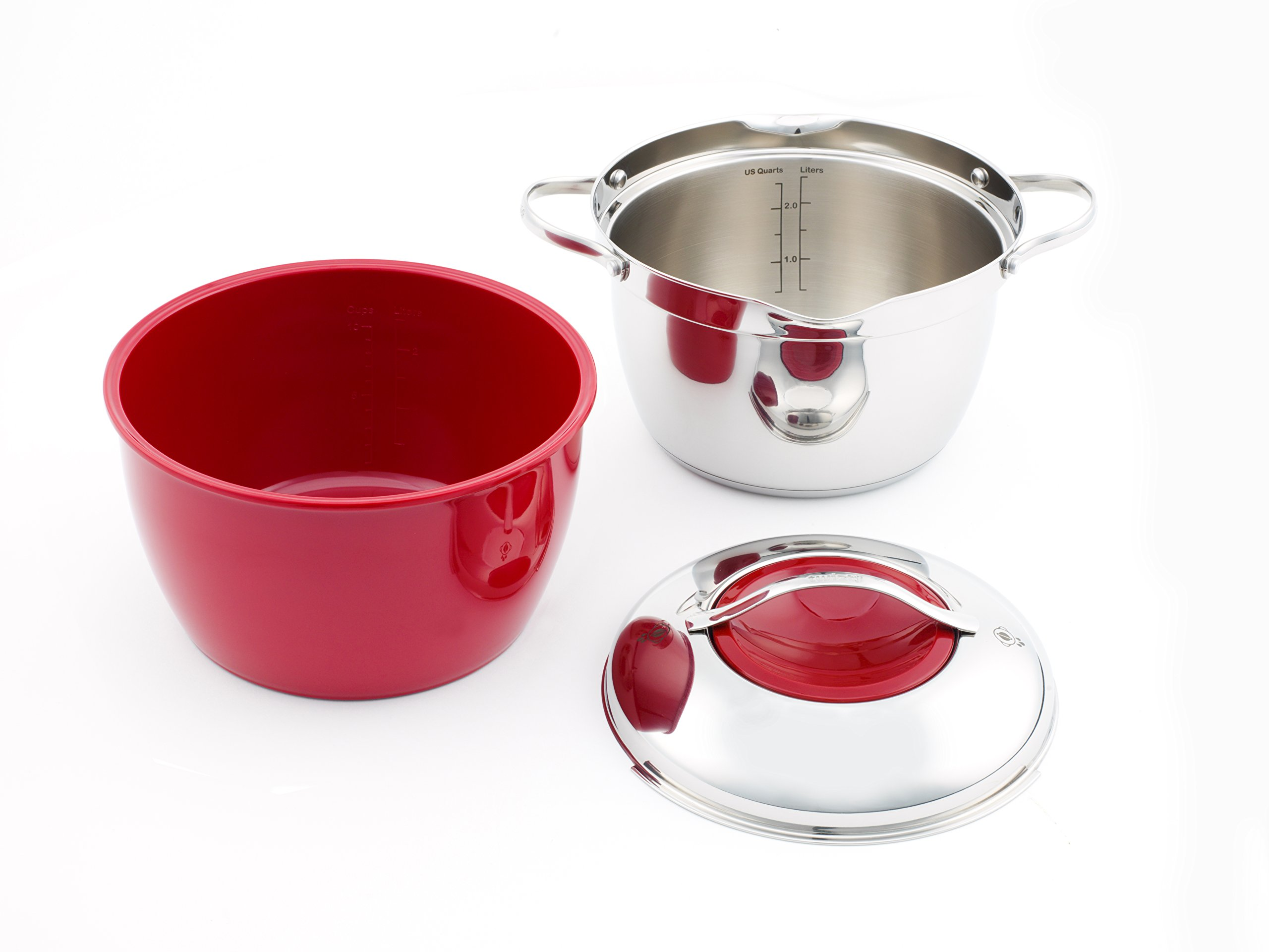 Twiztt by Joan Lunden CW0004776 3 Quart Stainless Steel with Red Bowl Covered Casserole
