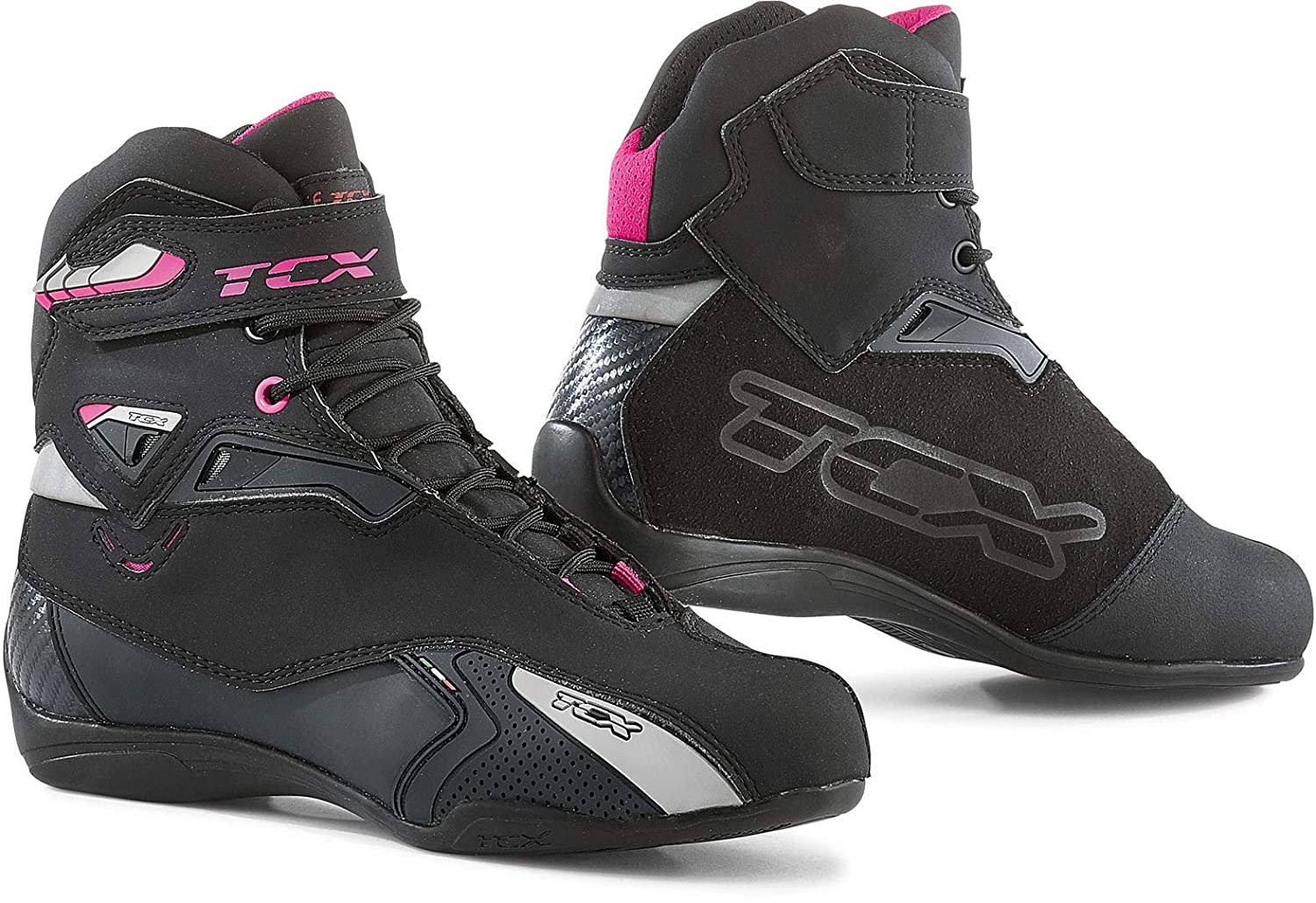 Black//Fuchsia//Eu 42 Us 10 TCX Rush Waterproof Womens Street Motorcycle Shoes