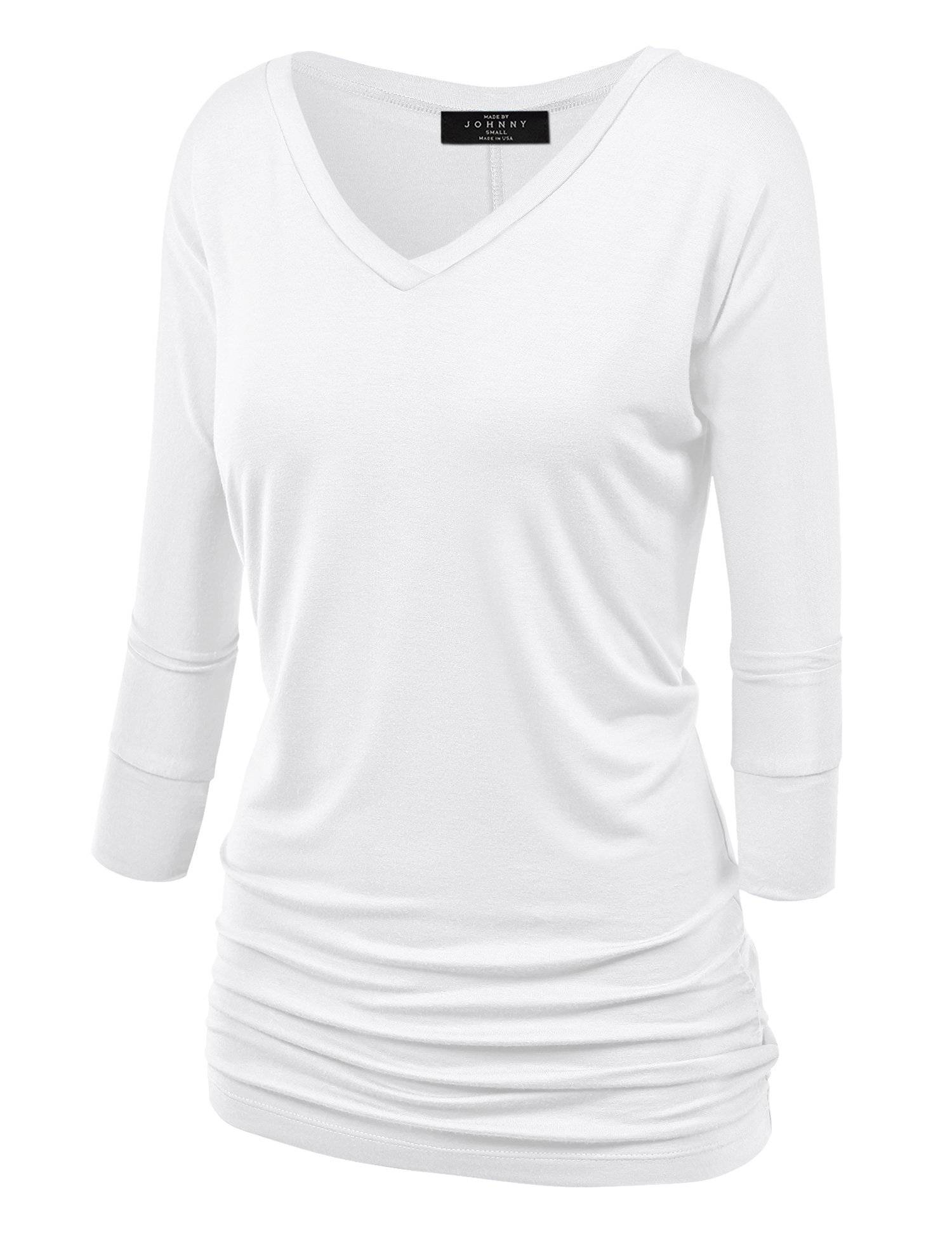 Made By Johnny WT1036 Womens V Neck 3/4 Sleeve Dolman Top with Side Shirring XXL White