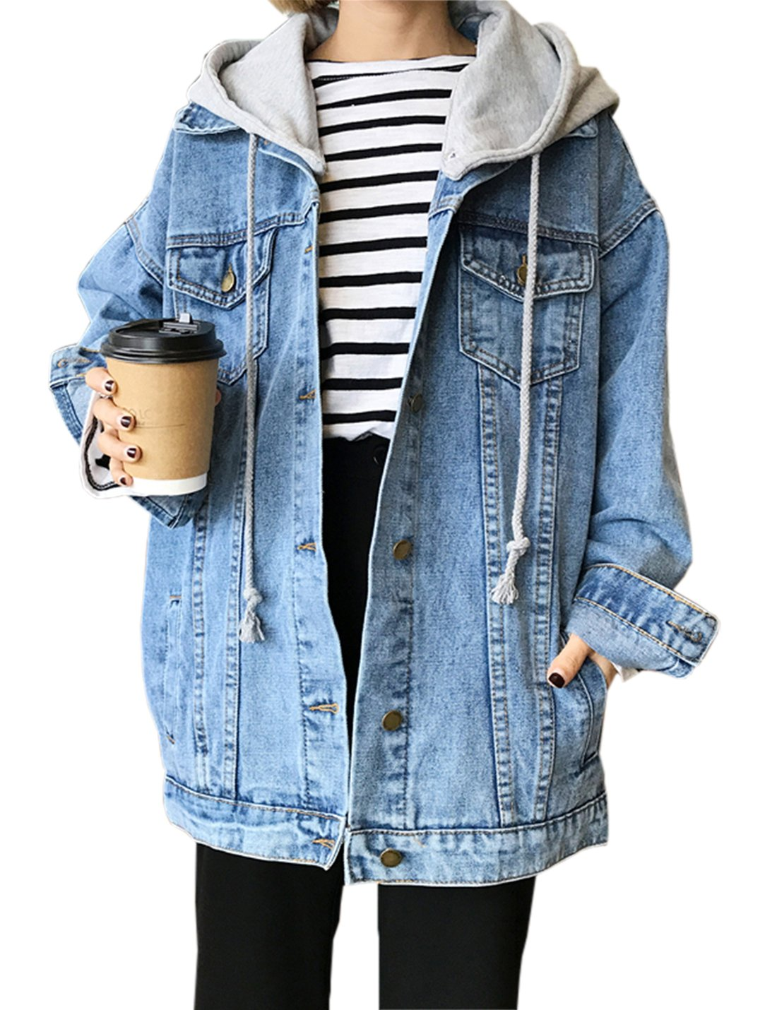 Gihuo Women's Drawstring Pockets Boyfriend Denim Jackets with Removable Hoodie (Light Blue, Small)