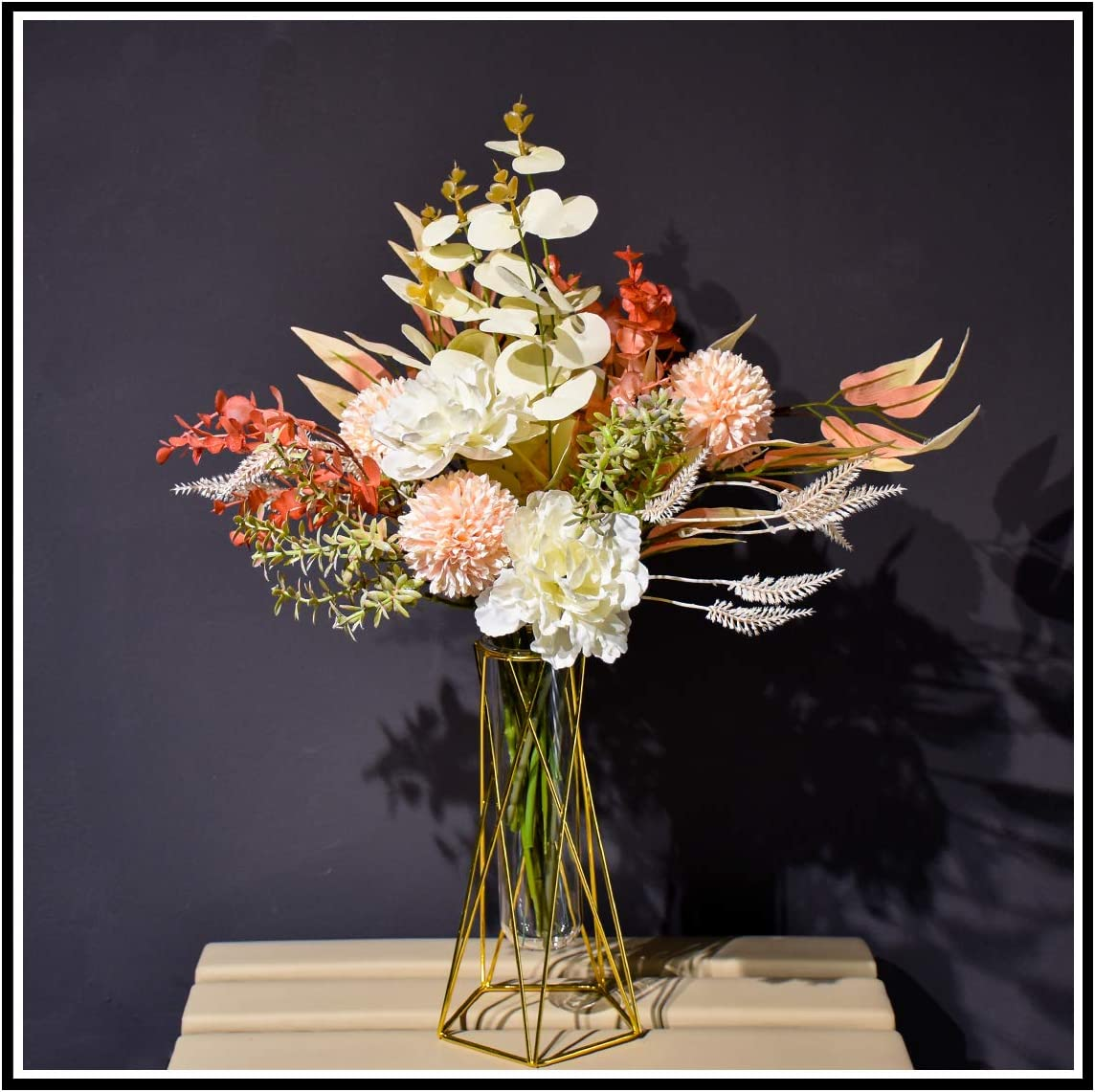 Fake Flowers with Vase Flowers Artificial for Decoration, Gifts for Mom, Real Touch Peonies Artificial Flowers Arrangements in Vase for Home Decor Indoor Yellow Peony