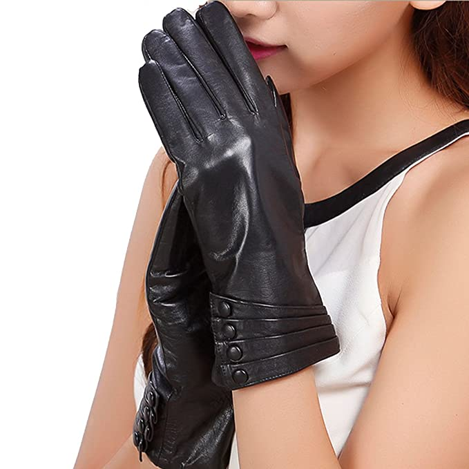 Winter Dress Gloves Women Thermal Linning Real Leather Ladies Glove BROWN S-XL