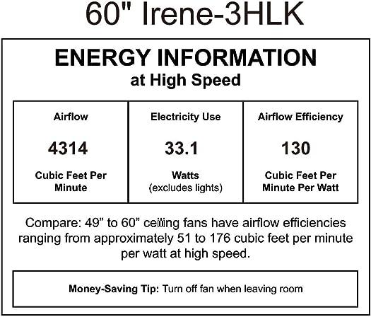 Matthews IR3HLK-BK-BK-60 Irene Indoor/Outdoor Damp Location 60″ Hugger Ceiling Fan