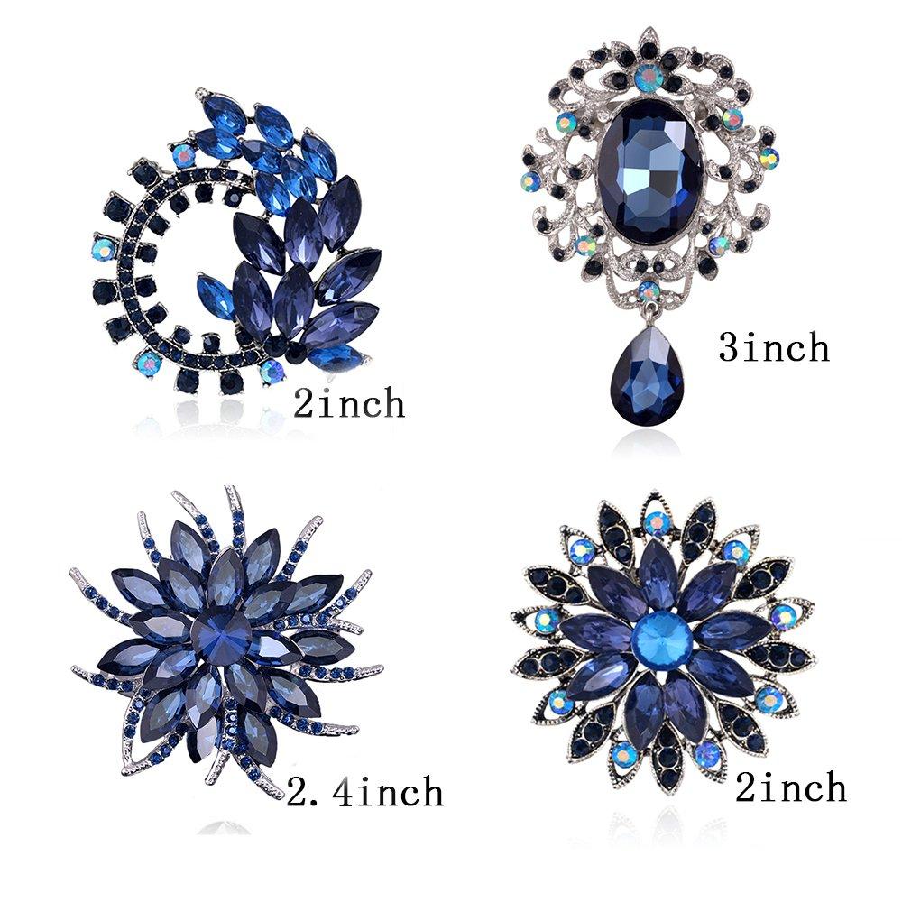 Ezing 4Pcs Deep Blue Brooch Lot with Large Big Size Rhinestone Crystal Fashion Jewelry (Blue)