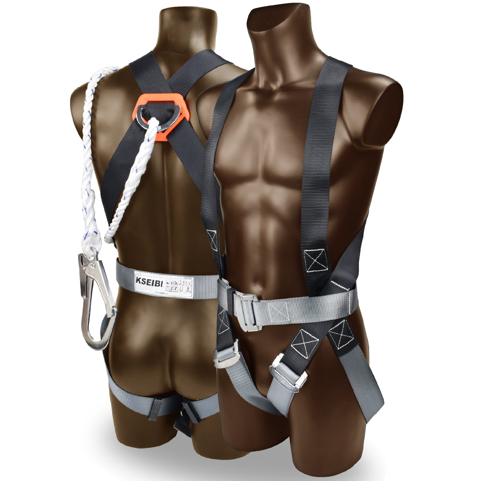 KSEIBI 421020 Safety Harness Fall Protection Kit, Construction Full Body System, with 6'' Lanyard and Bag Size -up to 42'' Waist by KSEIBI