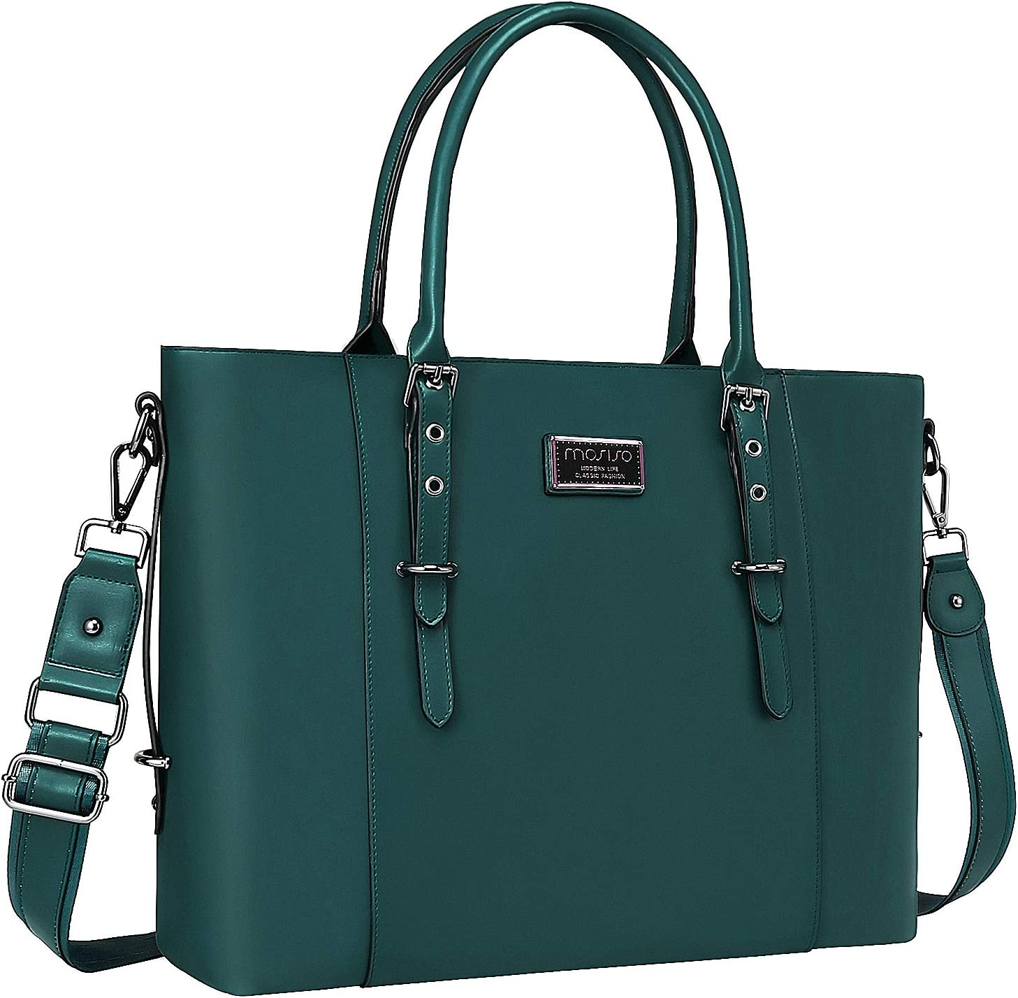 MOSISO PU Leather Laptop Tote Bag for Women (Up to 17.3 inch), Deep Teal