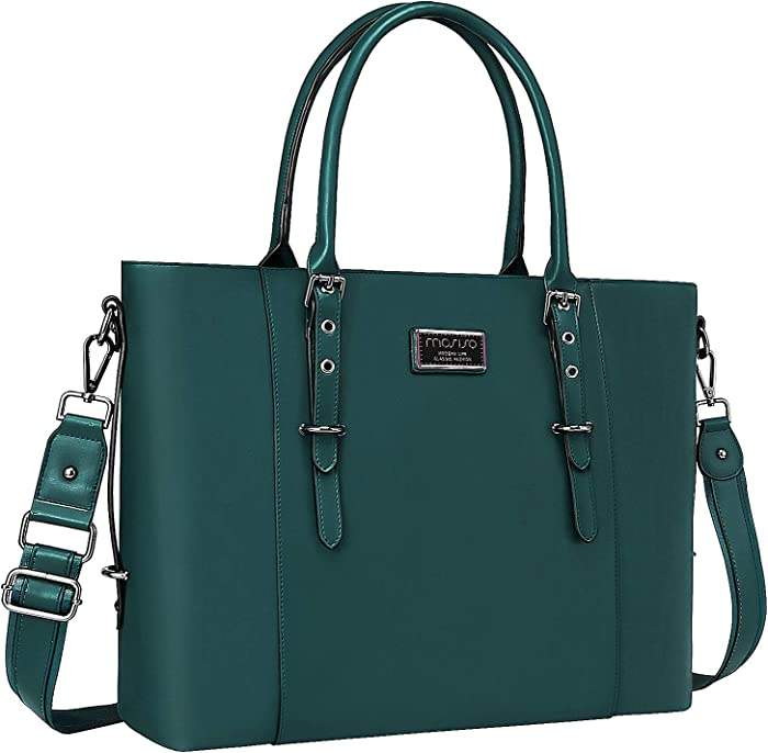 MOSISO PU Leather Laptop Tote Bag for Women (Up to 15.6 inch), Deep Teal