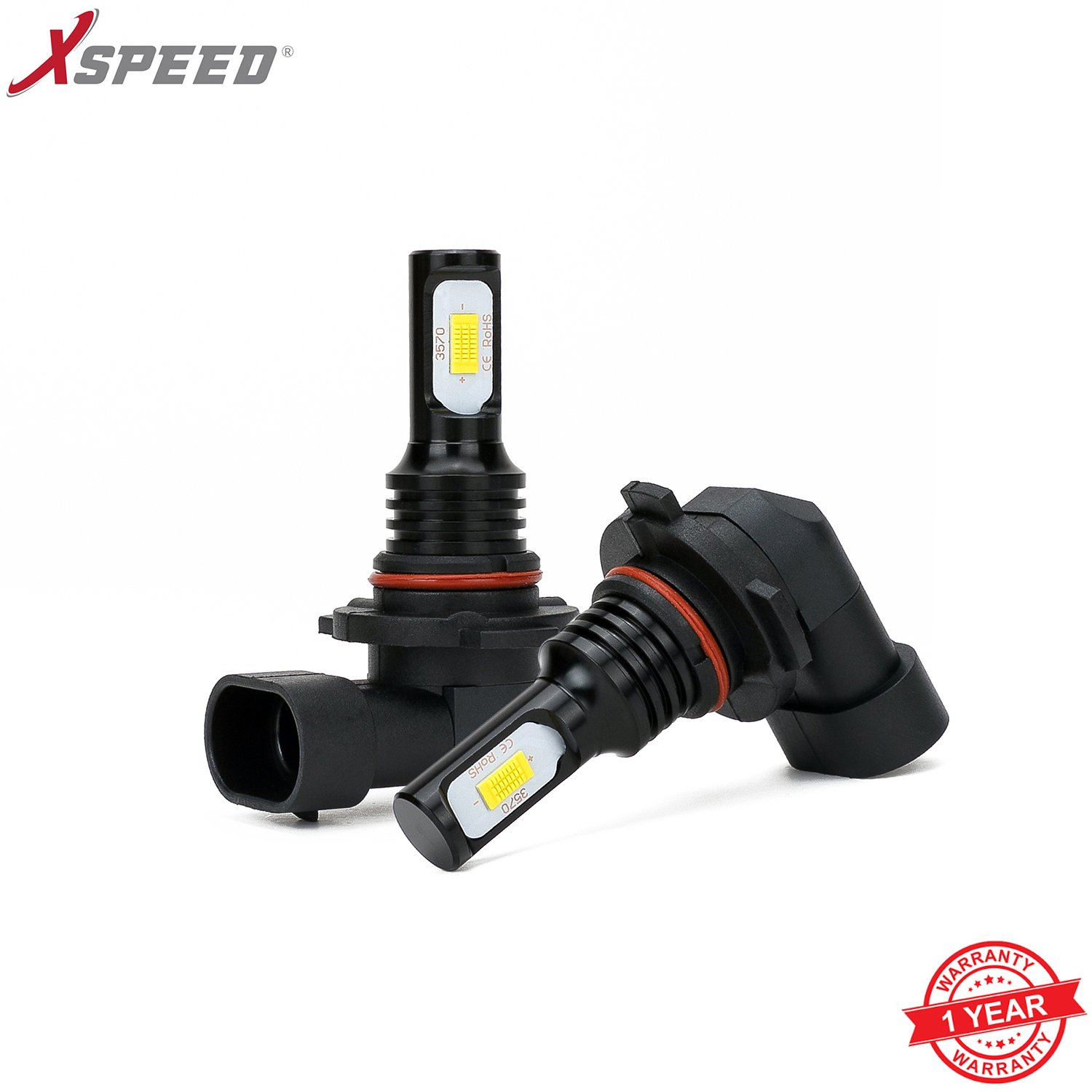 XSPEED 9012 HIR2 LED Headlight Bulbs X8 Series 9600 Lumens Extremely Super Bright XTC Chips All-in-One Conversion Kit Xenon White 6000k 2 Yr Warranty