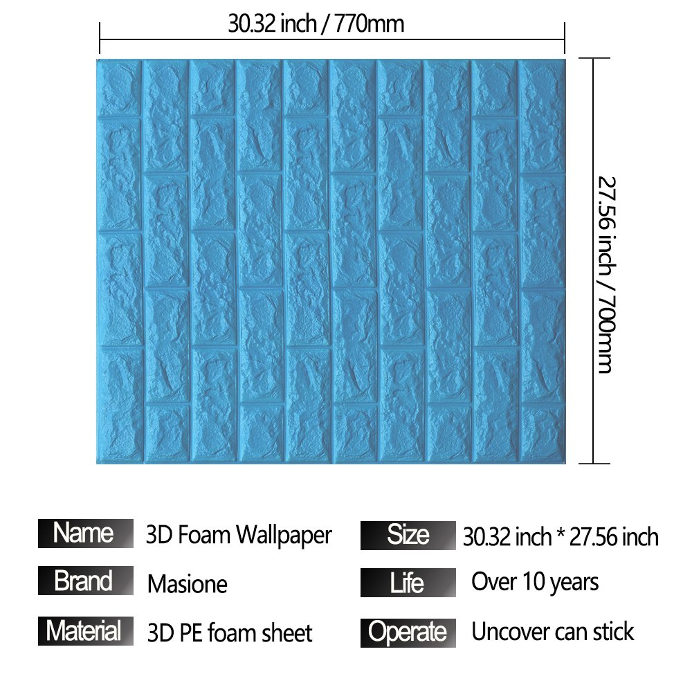 Amazon.com: Masione Foam Brick 3D Wall Panels Self-adhesive ...