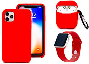"iPhone 11 Pro Max Case Accessory Bundle, iPhone 11 Pro Max, AirPods 1/2 Generation Case, AppleWatch Band 38/40"", Liquid Silicone, Shockproof, Compatible with iPhone 11 Pro Max (Red)"