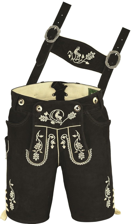 Bayerische Trachten Lederhose Herren kurz, Damen Trachtenlederhose aus echt Leder Wildbock mit Träger in Schwarz